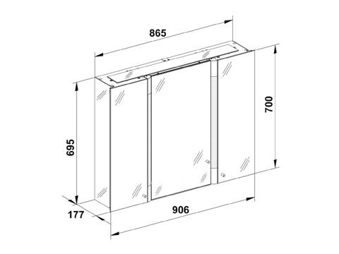 keuco royal t2 spiegelschrank 90 x 70 cm 13802171302 megabad. Black Bedroom Furniture Sets. Home Design Ideas